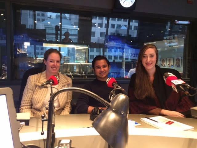 Dr. Rachel Dodds, Karim Mohammadi and Lauren Engleland at CBC's Fresh Air studios