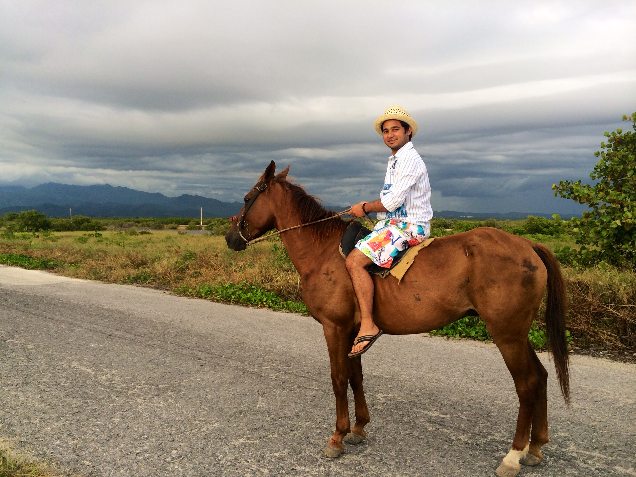 Karim on a horse in Cuba